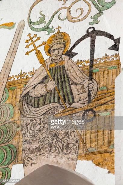 Wall painting of Saint Clemens patron Saint of mariners Aarhus Cathedral Aarhus Denmark
