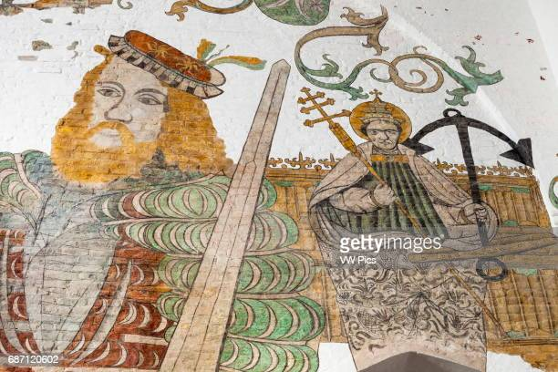 Wall painting of Saint Clemens patron Saint of mariners on right Aarhus Cathedral Aarhus Denmark