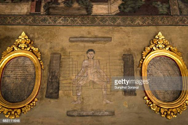 Wall painting showing anatomy and medical inscription tablets at Wat Pho