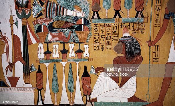 Wall painting Tomb of Sennedjem Valley of the Kings Luxor Thebes Egypt Egyptian civilisation New Kingdom Dynasty XVIII