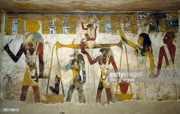 Wall paintings from the burial chamber of the Tomb of Pa Nentwy Bahariya Oasis Giza Egypt Egyptian Civilisation 26th Dynasty 663525 BC