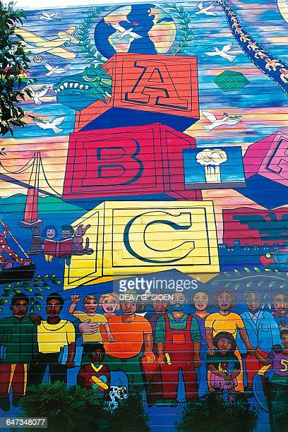 Wall paintings Mission District San Francisco California United States of America