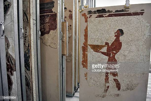 Wall paintings preserved from one of Greece's most famous archaeological sites the prehistoric town of Akrotiri on the island of Santorini which...