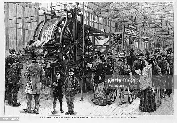 Wall paper printing press as exhibited in Machinery Hall at the Philadelphia Centennial Celebration Philadelphia Pennsylvania December 23 1876