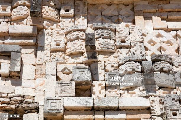 Wall sculptures of the Governor's Palace, Uxmal Mayan site, Mexico