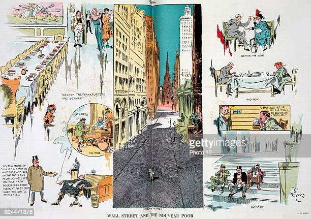 Wall Street and the nouveau poor by Henry Mayer 18681954 artist Published 1914 Illustration shows a vignette cartoon with a bird'seye view of Wall...
