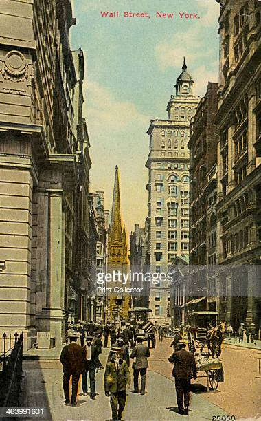 Wall Street New York City New York USA c1890c1909 Postcard Federal Hall and Trinity Church can be seen in the distance