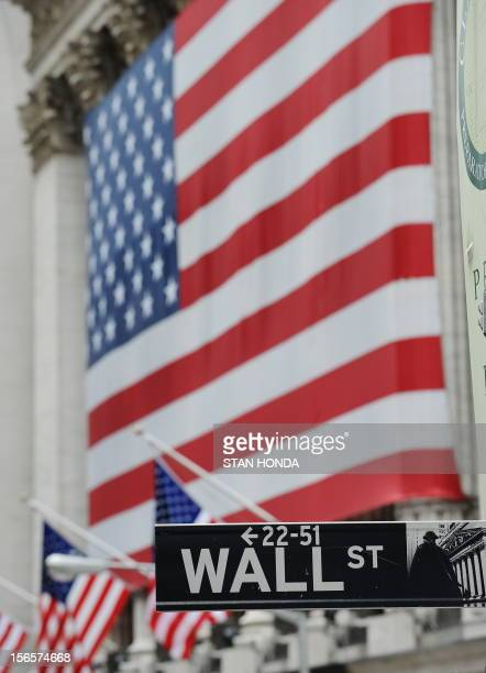 Wall Street sign and the front of the New York Stock Exchange on September 16 2008 Global stock markets went into a dizzying fall Monday as the...