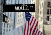 Wall Street sign, downtown Manhattan, New York City