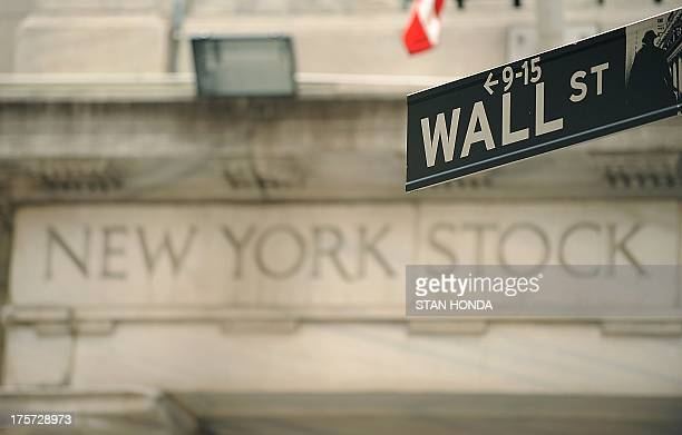 Wall Street sign outside an entrance of the New York Stock Exchange on September 16 2008 Global stock markets went into a dizzying fall Monday as the...