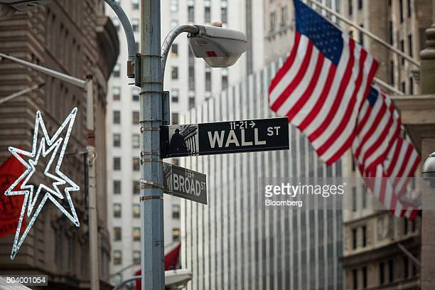 A Wall Street sign stands outside the New York Stock Exchange in New York US on Friday Jan 8 2016 The Standard Poor's 500 Index fluctuated near a...