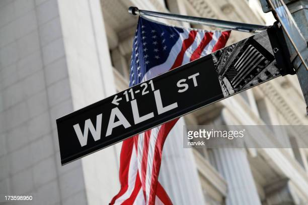 Wall Street Sign with US Flag Behind