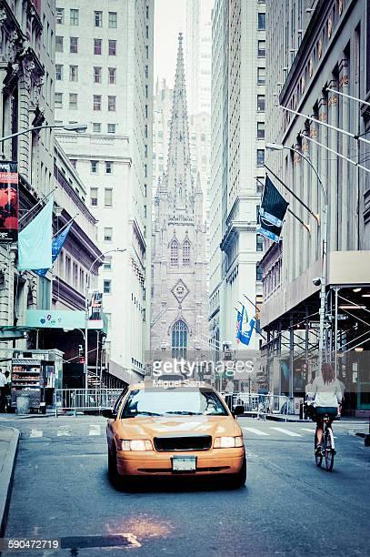 Wall Street with the Trinity church