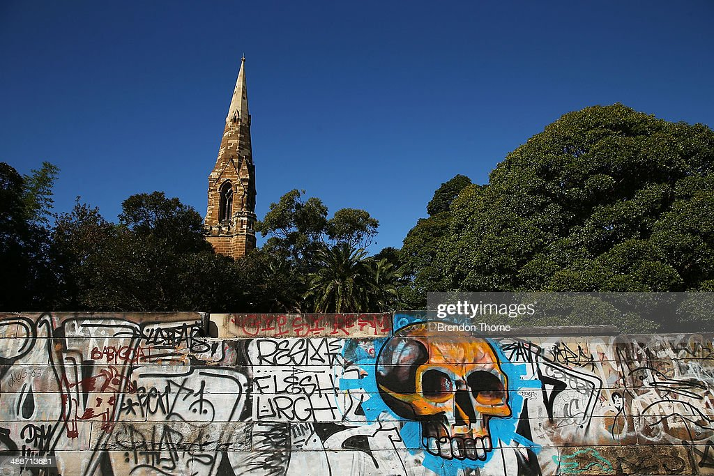 A wall strewn with graffiti is seen on May 8, 2014 in Sydney, Australia. The Grafitti Control Amendment Act passed in the NSW legislative council yesterday includes tougher penalties a the ability for local courts to enforce community clean up duty on offenders.
