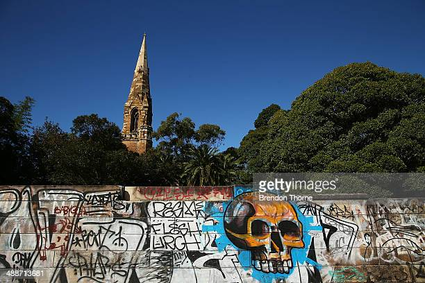 A wall strewn with graffiti is seen on May 8 2014 in Sydney Australia The Grafitti Control Amendment Act passed in the NSW legislative council...