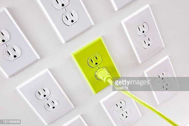 Wall  white electrical plugs with one green cord and outlet