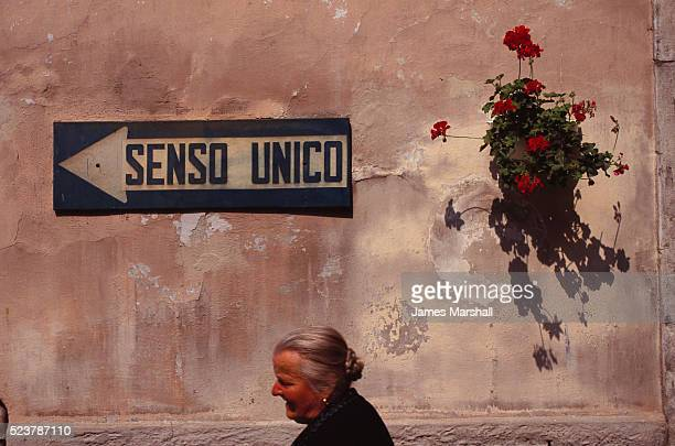 Wall with Traffic Sign and Geraniums