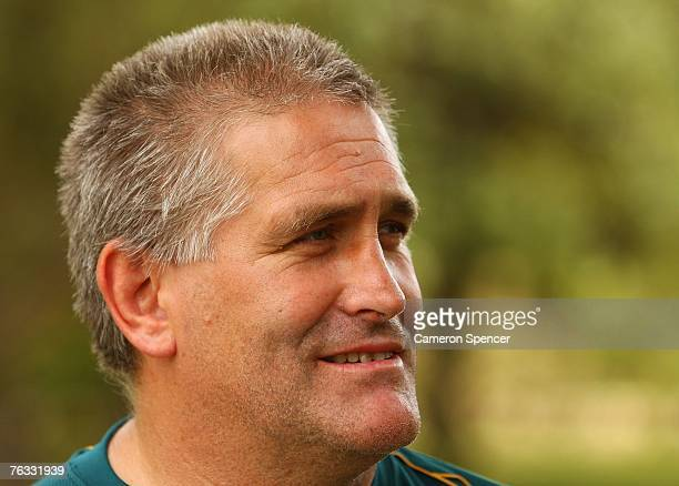 Wallabies assistant coach Scott Johnson talks to media during a Wallabies RWC Press Conference at Browns Sports and Leisure Club August 26 2007 in...