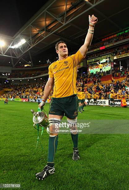 Wallabies captain James Horwill acknowledges the crowd after winning the TriNations Bledisloe Cup match between the Australian Wallabies and the New...