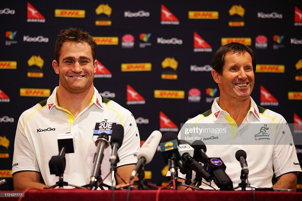 Wallabies captain <a gi-track='captionPersonalityLinkClicked' href=/galleries/search?phrase=James+Horwill&family=editorial&specificpeople=637477 ng-click='$event.stopPropagation()'>James Horwill</a> (L) and Wallabies coach <a gi-track='captionPersonalityLinkClicked' href=/galleries/search?phrase=Robbie+Deans&family=editorial&specificpeople=606884 ng-click='$event.stopPropagation()'>Robbie Deans</a> (R) speak to the media during an Australian Wallabies media session at the Shangri-La Hotel on July 2, 2013 in Sydney, Australia.
