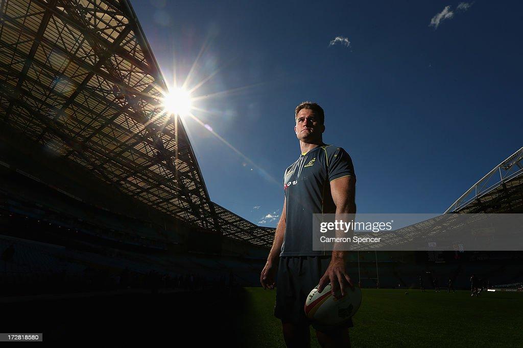 Wallabies captain James Horwill poses during the Australian Wallabies captain's run at ANZ Stadium on July 5 2013 in Sydney Australia