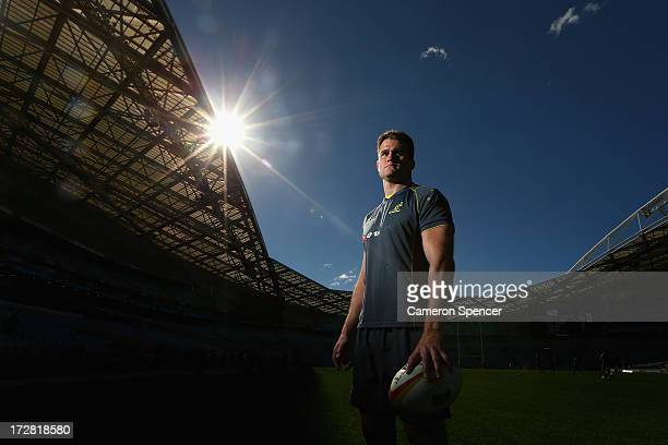 Wallabies captain James Horwill poses during the Australian Wallabies captain's run at ANZ Stadium on July 5 2013 in Sydney Australia
