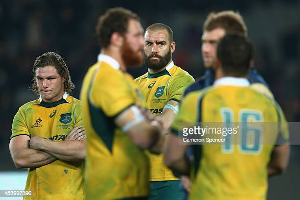 Wallabies captain Michael Hooper and team mate Scott Fardy of the Wallabies look dejected after losing The Rugby Championship match between the New...