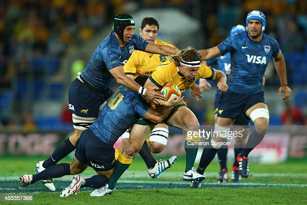 Wallabies captain Michael Hooper makes a break during The Rugby Championship match between the Australian Wallabies and Argentina at Cbus Super...
