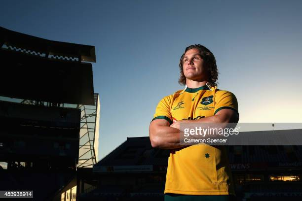 Wallabies captain Michael Hooper poses during the Australian Wallabies Captain's run at Eden Park on August 22 2014 in Auckland New Zealand