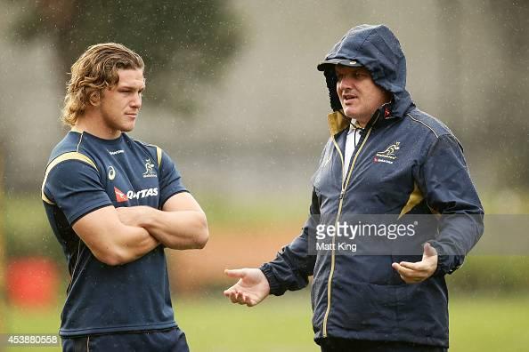 Wallabies captain Michael Hooper talks to Wallabies coach Ewen McKenzie during an Australian Wallabies training session at Sydney Grammer School...
