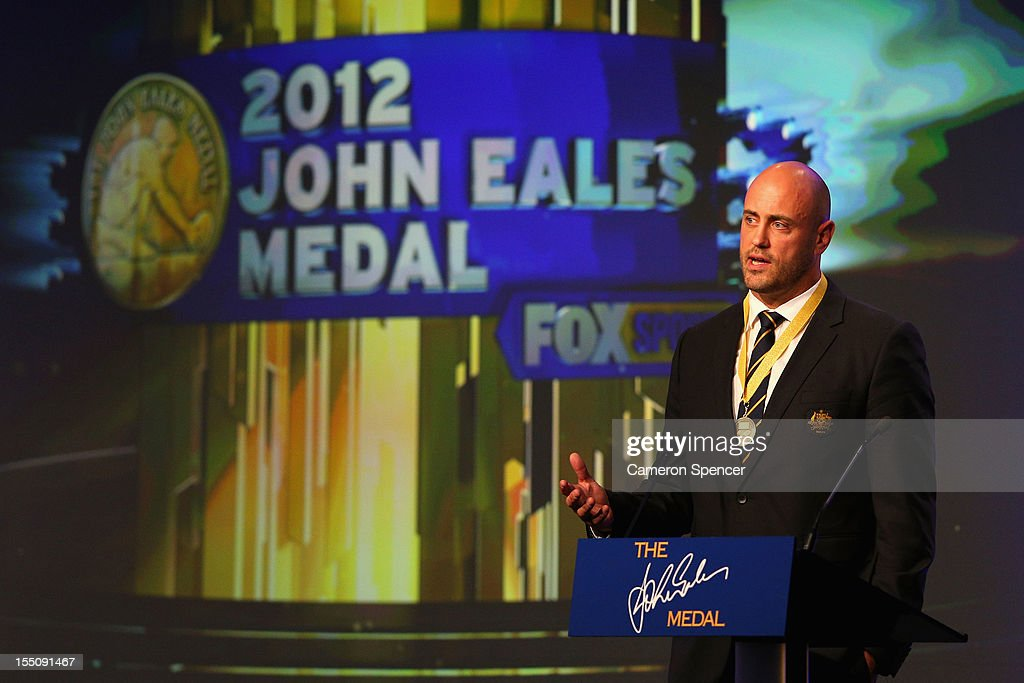 Wallabies captain Nathan Sharpe accepts the award 'The John Eales Medal' during the John Eales Medal at the Sydney Convention and Exhibition Centre on November 1, 2012 in Sydney, Australia.