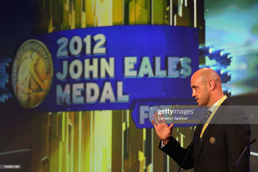 Wallabies captain <a gi-track='captionPersonalityLinkClicked' href=/galleries/search?phrase=Nathan+Sharpe&family=editorial&specificpeople=208152 ng-click='$event.stopPropagation()'>Nathan Sharpe</a> accepts the award 'The John Eales Medal' during the John Eales Medal at the Sydney Convention and Exhibition Centre on November 1, 2012 in Sydney, Australia.
