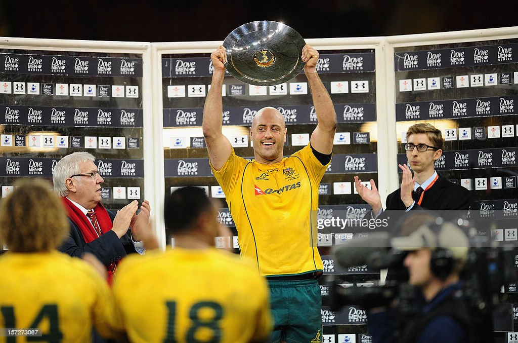 Wallabies captain Nathan Sharpe lifts the trophy after his last test match after the International match between Australia and Wales at Millennium Stadium on December 1, 2012 in Cardiff, Wales.