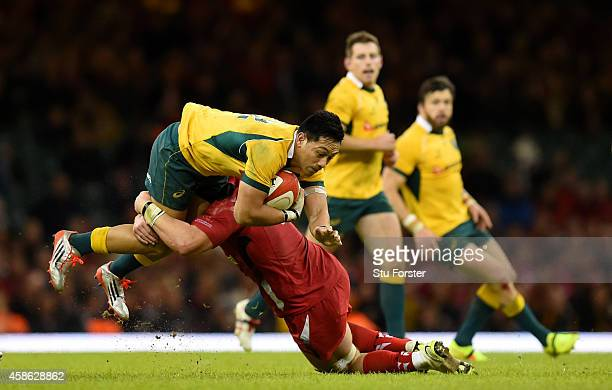 Wallabies centre Christian Leali'ifano is stopped in his tracks during the Autumn international match between Wales and Australia at Millennium...