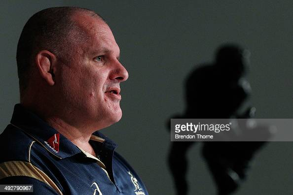 Wallabies coach Ewen McKenzie addresses the media during the France Test Series Australian Wallabies squad announcement at the ARU HQ on May 22 2014...