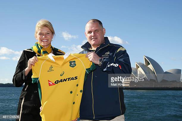 Wallabies coach Ewen McKenzie and Assistant Minister for Tourism and Major Events Katrina Hodgkinson pose as the ARU announce the sale of this year's...