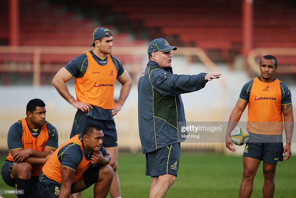 Wallabies coach Ewen McKenzie directs players during an Australian Wallabies training session at North Sydney Oval on August 6 2013 in Sydney...