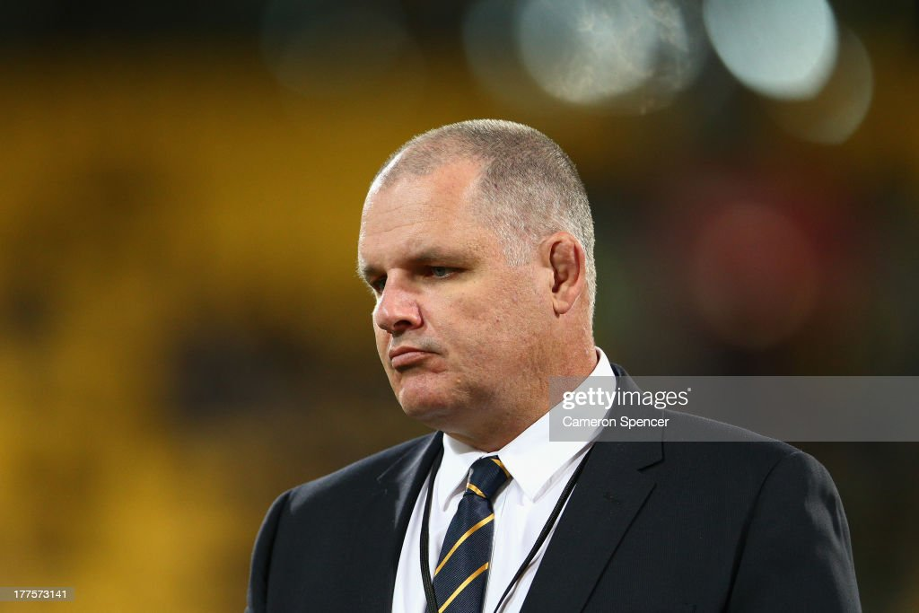 Wallabies coach Ewen McKenzie looks on during The Rugby Championship Bledisloe Cup match between the New Zealand All Blacks and the Australian...