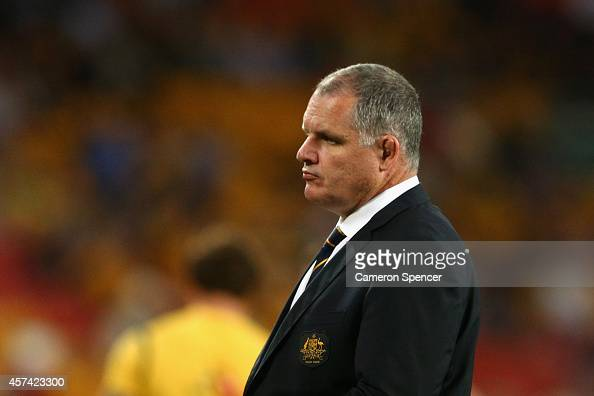 Wallabies coach Ewen McKenzie looks on prior to The Rugby Championship match between the Australian Wallabies and the New Zealand All Blacks at...