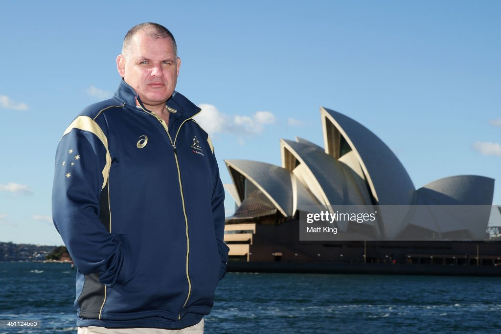 Wallabies coach Ewen McKenzie poses as the ARU announce the sale of this year's Bledisloe Cup match tickets at Dawes Point on June 24 2014 in Sydney...
