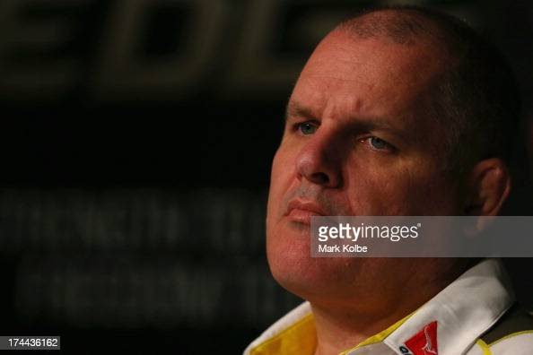 Wallabies coach Ewen McKenzie speaks to the media during the Australian Wallabies Rugby Championship squad announcement at ARU Headquarters on July...