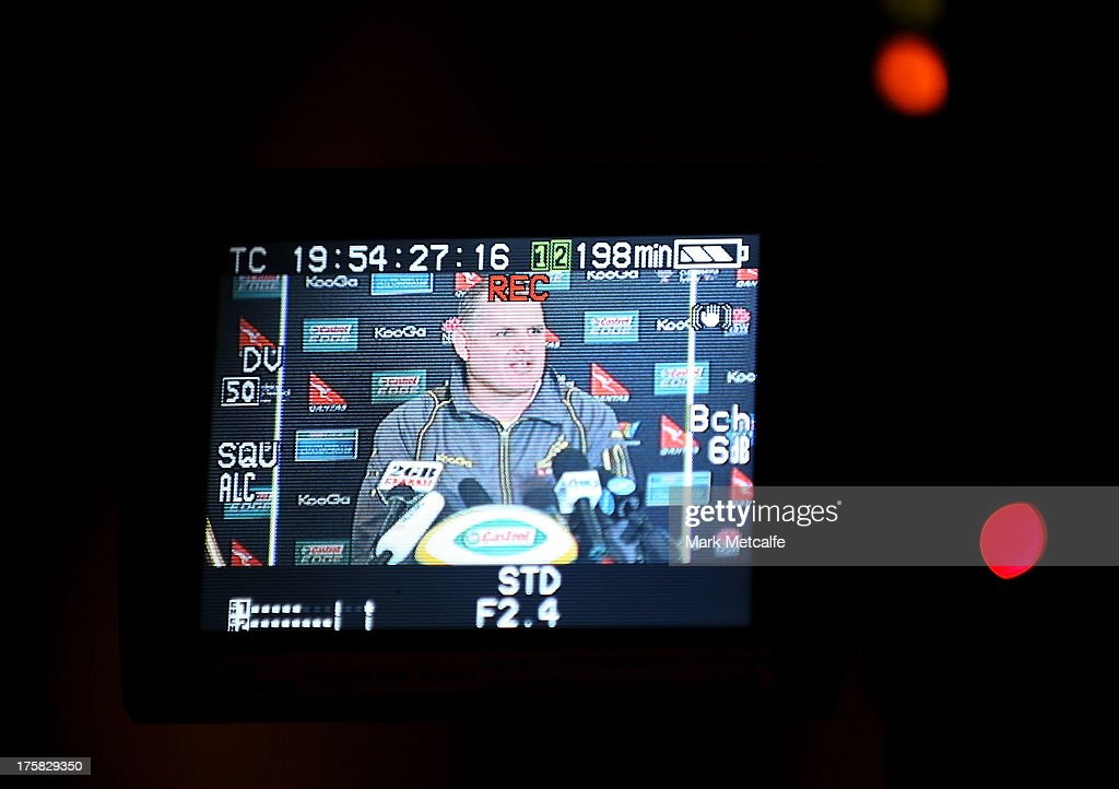 Wallabies coach <a gi-track='captionPersonalityLinkClicked' href=/galleries/search?phrase=Ewen+McKenzie&family=editorial&specificpeople=234798 ng-click='$event.stopPropagation()'>Ewen McKenzie</a> speaks to the media during the Australian Wallabies Rugby Championship squad announcement at the Intercontinental Hotel on August 9, 2013 in Sydney, Australia.