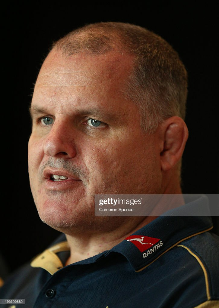 Wallabies coach Ewen McKenzie talks during an Australian Wallabies media session at the Park Hyatt Mendoza Hotel on October 2 2014 in Mendoza...