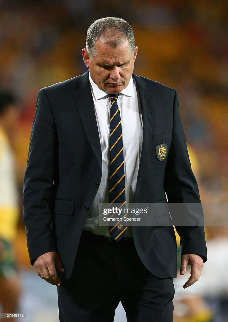 Wallabies coach Ewen McKenzie walks across the field during The Rugby Championship match between the Australian Wallabies and the New Zealand All...