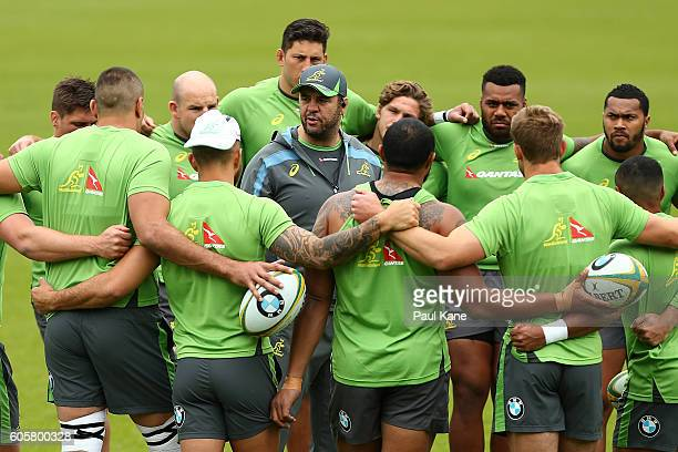 Wallabies coach Michael Cheika addresses his players during an Australian Wallabies training session at the WA Rugby Centre on September 15 2016 in...