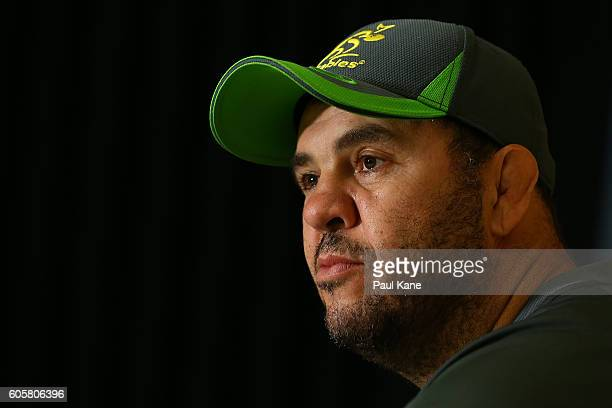 Wallabies coach Michael Cheika addresses the media during an Australian Wallabies media session at the WA Rugby Centre on September 15 2016 in Perth...