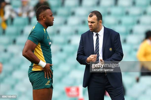 Wallabies coach Michael Cheika talks to Eto Nabuli of the Wallabies prior to the International Test match between the Australian Wallabies and...