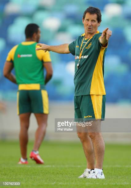 Wallabies coach Robbie Dean instructs his players during an Australian Wallabies training session at the Moses Mabhida Stadium on August 9 2011 in...