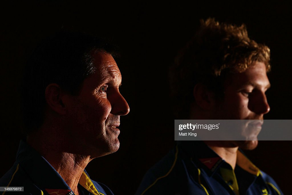 Wallabies coach <a gi-track='captionPersonalityLinkClicked' href=/galleries/search?phrase=Robbie+Deans&family=editorial&specificpeople=606884 ng-click='$event.stopPropagation()'>Robbie Deans</a> (L) and <a gi-track='captionPersonalityLinkClicked' href=/galleries/search?phrase=David+Pocock&family=editorial&specificpeople=636603 ng-click='$event.stopPropagation()'>David Pocock</a> (R) speak to the media during an Australian Wallabies press conference at Crowne Plaza, Coogee on May 28, 2012 in Sydney, Australia.