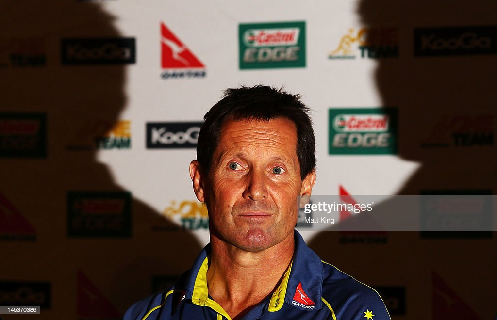 Wallabies coach <a gi-track='captionPersonalityLinkClicked' href=/galleries/search?phrase=Robbie+Deans&family=editorial&specificpeople=606884 ng-click='$event.stopPropagation()'>Robbie Deans</a> speaks to the media during an Australian Wallabies press conference at Crowne Plaza, Coogee on May 28, 2012 in Sydney, Australia.